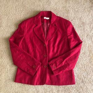 Ann Taylor Jackets & Coats   Red Wool Blend Blazer